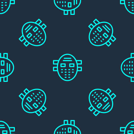 Green line Hockey mask icon isolated seamless pattern on blue background. Vector 向量圖像