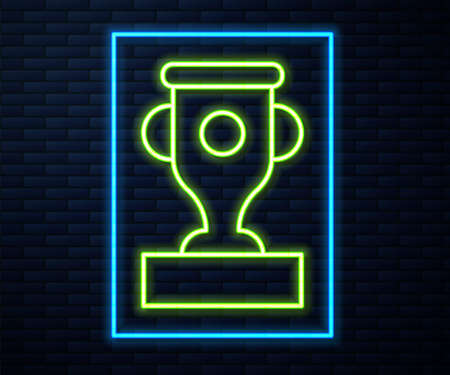 Glowing neon line Award cup icon isolated on brick wall background. Winner trophy symbol. Championship or competition trophy. Sports achievement sign. Vector
