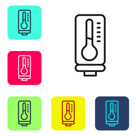Black line Meteorology thermometer measuring heat and cold icon isolated on white background. Thermometer equipment showing hot or cold weather. Set icons in color square buttons. Vector 向量圖像