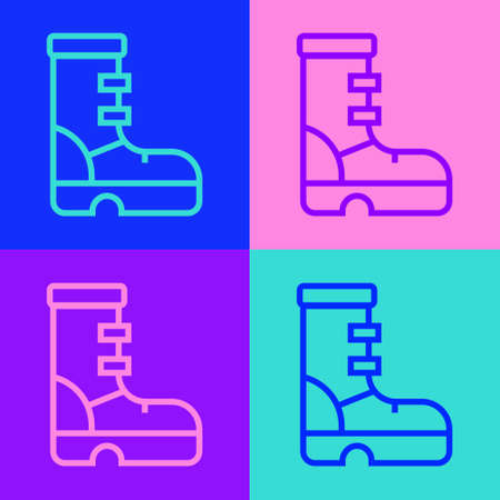 Pop art line Waterproof rubber boot icon isolated on color background. Gumboots for rainy weather, fishing, gardening. Vector