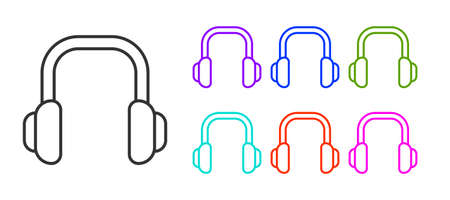 Black line Winter headphones icon isolated on white background. Earmuffs sign. Set icons colorful. Vector