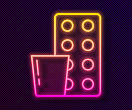 Glowing neon line Pills in blister pack icon isolated on black background. Medical drug package for tablet, vitamin, antibiotic, aspirin. Vector