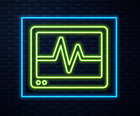 Glowing neon line Computer monitor with cardiogram icon isolated on brick wall background. Monitoring icon. ECG monitor with heart beat hand drawn. Vector