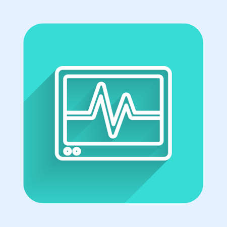 White line Computer monitor with cardiogram icon isolated with long shadow. Monitoring icon. ECG monitor with heart beat hand drawn. Green square button. Vector
