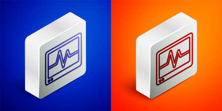 Isometric line Computer monitor with cardiogram icon isolated on blue and orange background. Monitoring icon. ECG monitor with heart beat hand drawn. Silver square button. Vector
