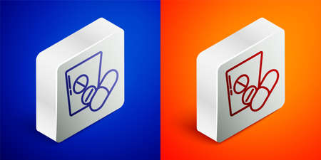 Isometric line Medicine pill or tablet icon isolated on blue and orange background. Capsule pill and drug sign. Pharmacy design. Silver square button. Vector