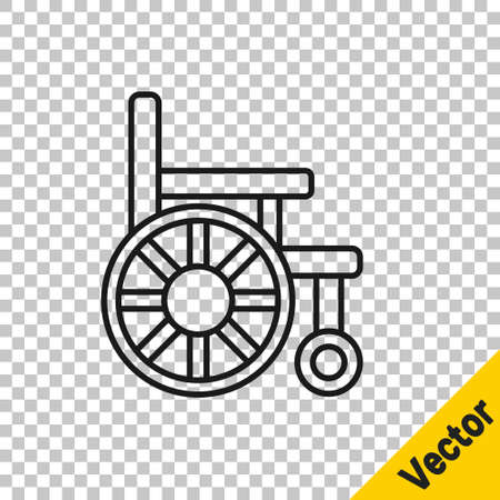 Black line Wheelchair for disabled person icon isolated on transparent background. Vector