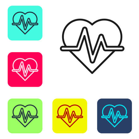Black line Heart rate icon isolated on white background. Heartbeat sign. Heart pulse icon. Cardiogram icon. Set icons in color square buttons. Vector