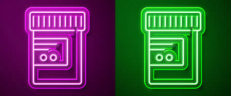 Glowing neon line Medicine bottle and pills icon isolated on purple and green background. Bottle pill sign. Pharmacy design. Vector 矢量图像