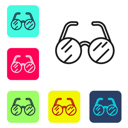 Black line Eyeglasses icon isolated on white background. Set icons in color square buttons. Vector 矢量图像