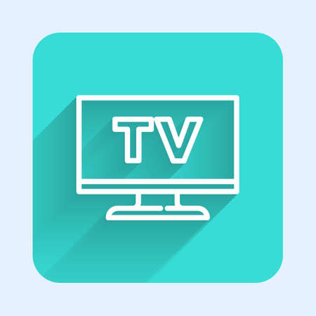 White line Smart Tv icon isolated with long shadow. Television sign. Green square button. Vector