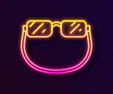 Glowing neon line Eyeglasses icon isolated on black background. Vector 矢量图像