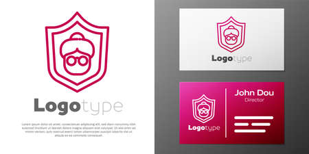 Logotype line Grandmother icon isolated on white background. Logo design template element. Vector