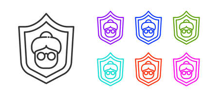 Black line Grandmother icon isolated on white background. Set icons colorful. Vector