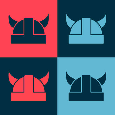 Pop art Viking in horned helmet icon isolated on color background. Vector 向量圖像