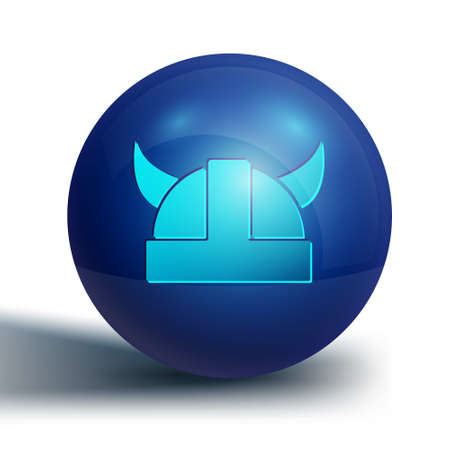 Blue Viking in horned helmet icon isolated on white background. Blue circle button. Vector