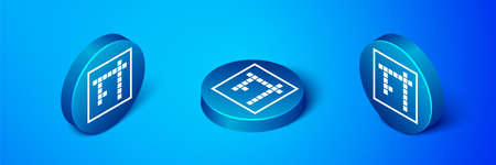 Isometric Bingo icon isolated on blue background. Lottery tickets for american bingo game. Blue circle button. Vector