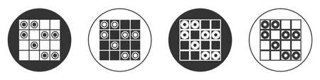 Black Board game of checkers icon isolated on white background. Ancient Intellectual board game. Chess board. White and black chips. Circle button. Vector Illustration