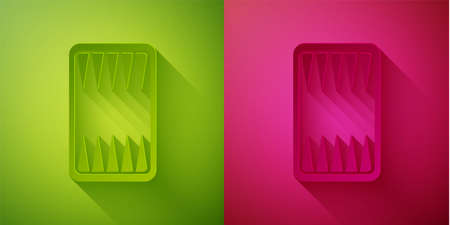 Paper cut Backgammon board icon isolated on green and pink background. Paper art style. Vector
