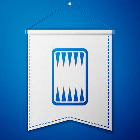 Blue Backgammon board icon isolated on blue background. White pennant template. Vector