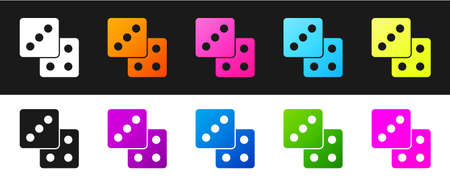 Set Game dice icon isolated on black and white background. Casino gambling. Vector 矢量图像