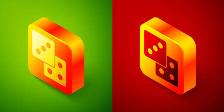 Isometric Game dice icon isolated on green and red background. Casino gambling. Square button. Vector 矢量图像
