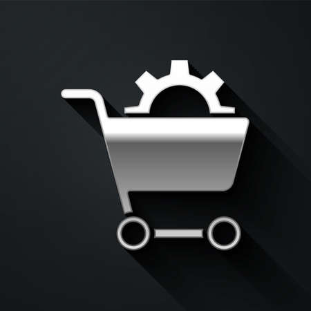 Silver Shopping cart icon isolated on black background. Online buying concept. Delivery service. Supermarket basket. Long shadow style. Vector