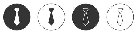 Black Tie icon isolated on white background. Necktie and neckcloth symbol. Circle button. Vector 矢量图像