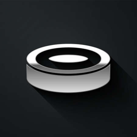 Silver Checker game chips icon isolated on black background. Long shadow style. Vector
