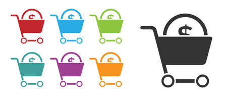Black Shopping cart and dollar symbol icon isolated on white background. Online buying concept. Delivery service. Supermarket basket. Set icons colorful. Vector