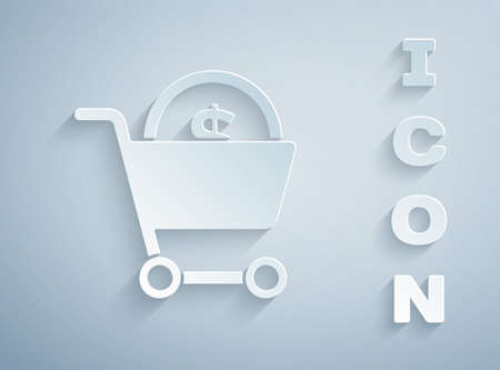 Paper cut Shopping cart and dollar symbol icon isolated on grey background. Online buying concept. Delivery service. Supermarket basket. Paper art style. Vector