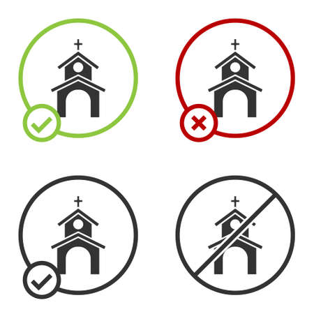 Black Church building icon isolated on white background. Christian Church. Religion of church. Circle button. Vector 向量圖像
