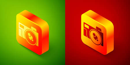 Isometric Photo camera icon isolated on green and red background. Foto camera icon. Square button. Vector