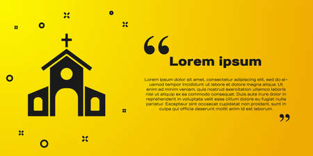 Black Church building icon isolated on yellow background. Christian Church. Religion of church. Vector