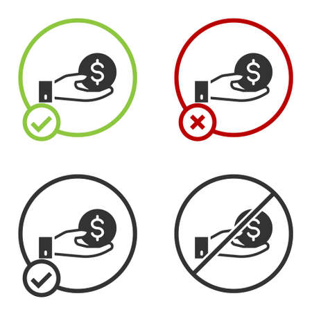 Black Human hand giving money icon isolated on white background. Receiving money icon. Circle button. Vector