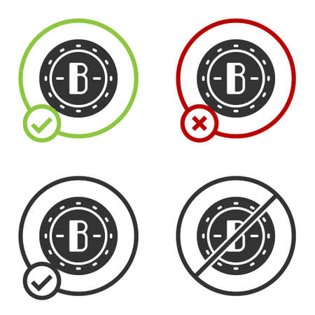 Black Cryptocurrency coin Bitcoin icon isolated on white background. Physical bit coin. Blockchain based secure crypto currency. Circle button. Vector