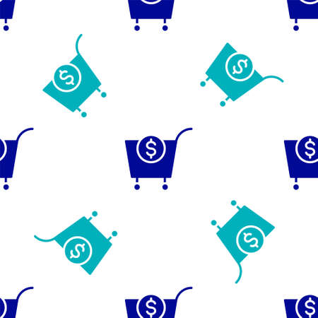 Blue Shopping cart and dollar symbol icon isolated seamless pattern on white background. Online buying concept. Delivery service. Supermarket basket. Vector 向量圖像