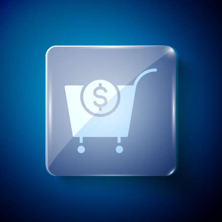 White Shopping cart and dollar symbol icon isolated on blue background. Online buying concept. Delivery service. Supermarket basket. Square glass panels. Vector 向量圖像