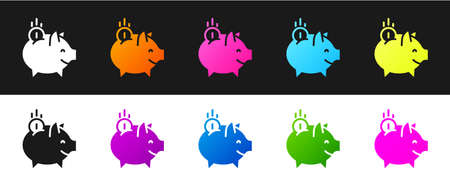 Set Piggy bank with coin icon isolated on black and white background. Icon saving or accumulation of money, investment. Vector