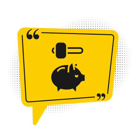 Black Piggy bank and hammer icon isolated on white background. Icon saving or accumulation of money, investment. Yellow speech bubble symbol. Vector