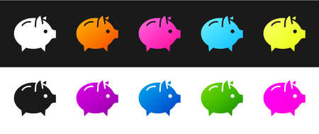 Set Piggy bank icon isolated on black and white background. Icon saving or accumulation of money, investment. Vector Illustration