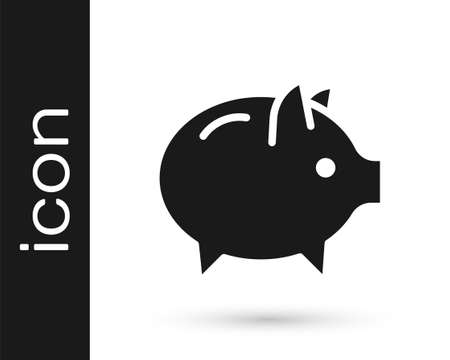 Black Piggy bank icon isolated on white background. Icon saving or accumulation of money, investment. Vector