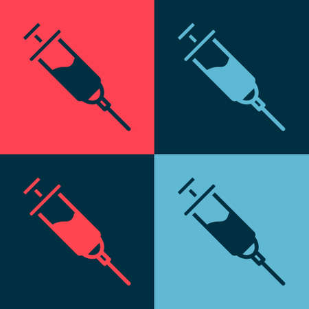 Pop art Doping syringe icon isolated on color background. Vector