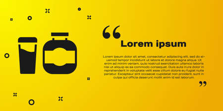 Black Sports nutrition bodybuilding proteine power drink and food icon isolated on yellow background. Vector 向量圖像