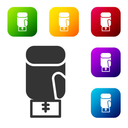 Black Boxing glove icon isolated on white background. Set icons in color square buttons. Vector 向量圖像