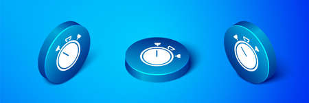 Isometric Stopwatch icon isolated on blue background. Time timer sign. Chronometer sign. Blue circle button. Vector 向量圖像
