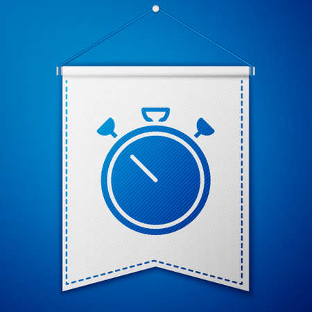 Blue Stopwatch icon isolated on blue background. Time timer sign. Chronometer sign. White pennant template. Vector 向量圖像