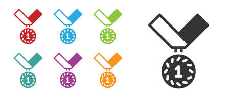 Black Medal icon isolated on white background. Winner symbol. Set icons colorful. Vector