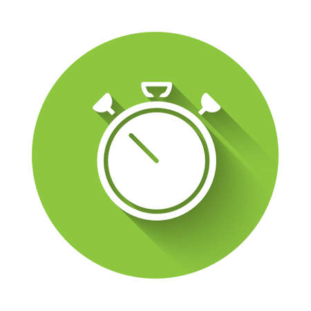 White Stopwatch icon isolated with long shadow. Time timer sign. Chronometer sign. Green circle button. Vector