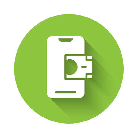 White Mobile banking icon isolated with long shadow. Transfer money through mobile banking on the mobile phone screen. Green circle button. Vector